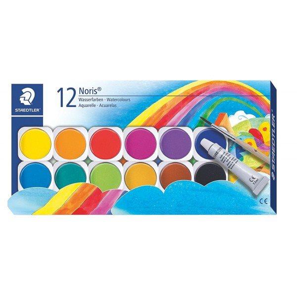 آبرنگ 12 رنگ جلد مقوایی استدلر مدل Noris کد 888