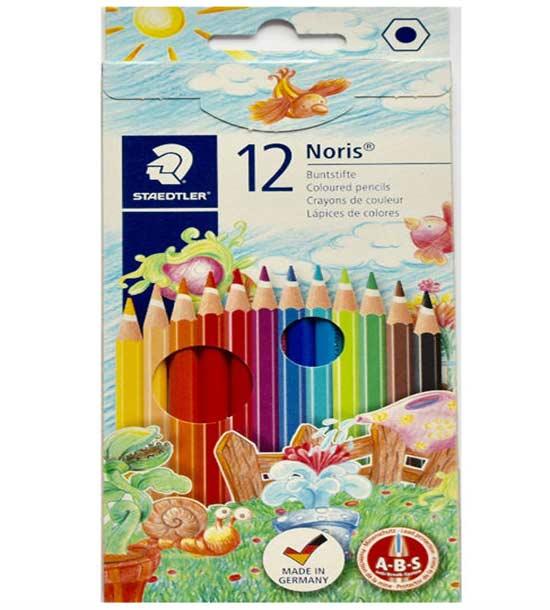 مداد رنگی 12 رنگ مقوایی استدلر مدل Noris کد 144NC12
