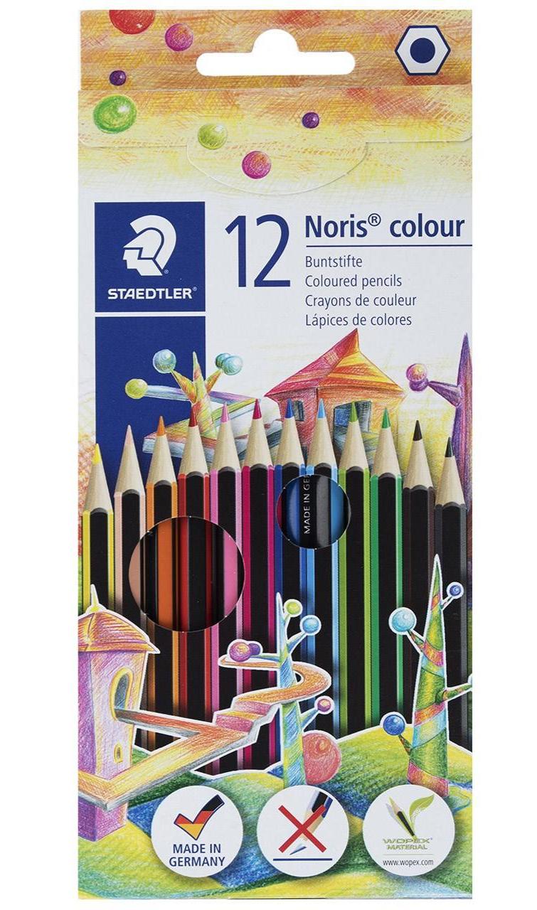 مداد رنگی 12 رنگ مقوایی استدلر مدل Noris Colour کد 185C12