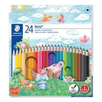 مداد رنگی 24 رنگ مقوایی استدلر مدل Noris کد 144NC24