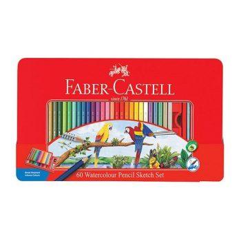 مداد رنگی آبرنگی 60 رنگ جعبه فلزی فابر کاستل طرح طوطی