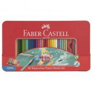مداد رنگی آبرنگی 60 رنگ جعبه فلزی فابر کاستل طرح ماهی
