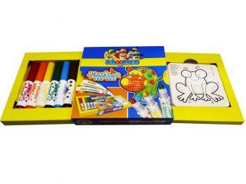 ست ماژیک 6 رنگ جامبو با مدل نقاشی 9275 اسکول فنس