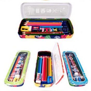 مداد رنگی 12 رنگ جعبه فلزی درب طلقی پارسی کار