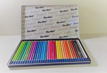 مداد رنگی 36 رنگ جلد فلزی تخت پارسی کار